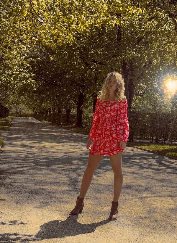 Red bohemian dress